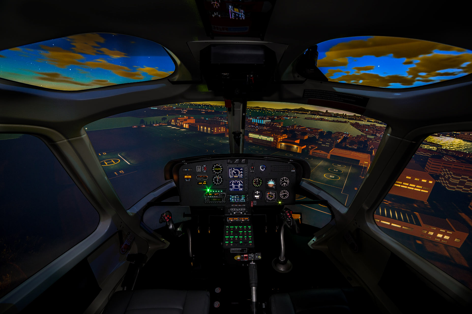 Frasca AS350 Flight Simulator Night View