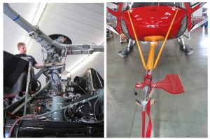 Figure 1: Left: Frasca Flight Test Engineer Chris Lyon inspects the rotor head assembly and rotor blade angle sensors on an Airbus Helicopters H125; Right: Air-Data Boom installed on an Airbus Helicopters AS350