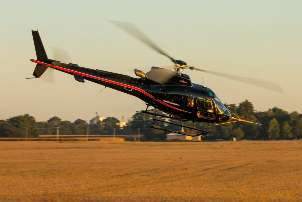 Figure 2: A fully instrumented Airbus Helicopters H125 being flight tested at Frasca Field